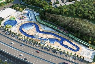 本牧市民プールの再整備後のイメージ(鳥瞰図)=横浜市提供