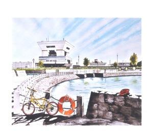 横浜の風景を描いた作品が多い
