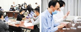 コロナワクチン集団接種に備え、事前研修を行う会員薬剤師たち(写真左:中区薬剤師会、右:西区薬剤師会)