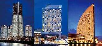 みなとみらいの三銃士(左から横浜ロイヤルパークホテル、横浜ベイホテル東急、ヨコハマ グランド インターコンチネンタル ホテル)