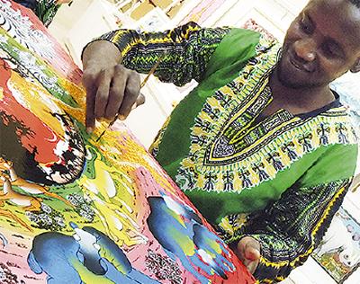 アフリカン絵画がずらり