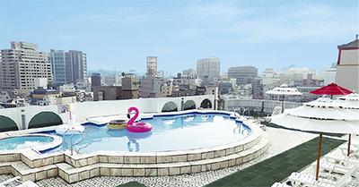 中華街の屋上にプール?