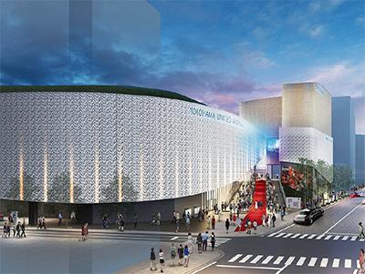 落札者が提案したJR関内駅側から見たメインアリーナの外観図。奥の建物はホテルや飲食店などの民間施設=横浜市提供