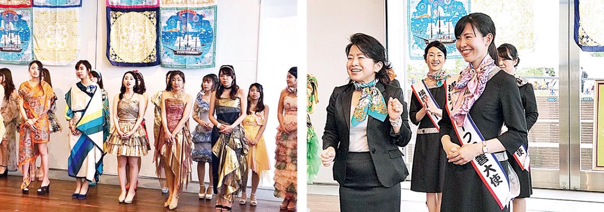 横浜スカーフのドレス披露