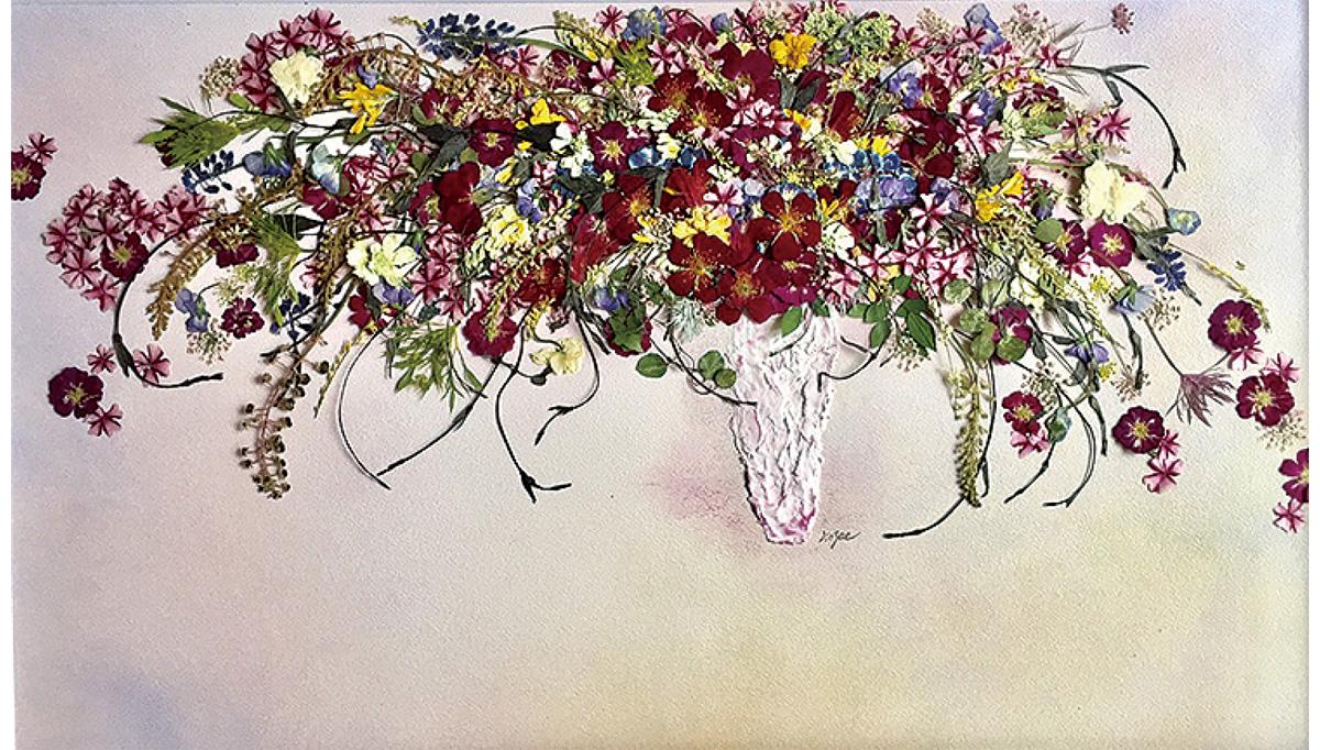独自手法の押し花アート