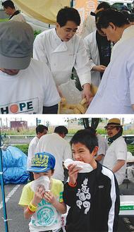パンを仕込む赤川さん(上)揚げたてを食べる子どもたち(写真提供・全日本パン協同組合連合会)