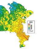 三浦半島断層群で地震が起きた場合の推計震度分布図(2009年3月発行の「神奈川県地震被害想定調査報告書」から引用)