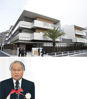 堀割川沿いに建つ施設(上)と松井理事長(下)