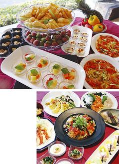 旬の食材を使った20種のランチバイキング(写真上)夜の特得宴会メニューの一例(右)