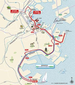 横浜マラソンのコース案(組織委員会の資料から)