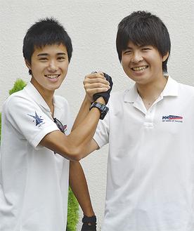 「トップを狙う」と宣言する渡辺君(左)と須藤君