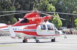 区民が見守る中、公園内に着陸したヘリコプター