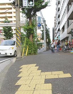 点字ブロックが設置される阪東橋駅周辺