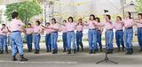 訓練会で横浜市歌などを歌った声楽隊