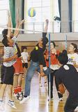 バレーボールを楽しむ参加者
