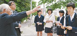 金子さん(左)の話を聞くY校生