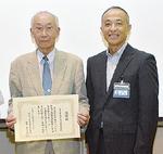 相馬会長(左)と冨地校長