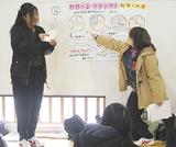 「みなみやげ」の盛り上げ策を説明する生徒