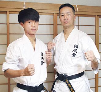 父の角田宣優さん(右)と息子の拳悠君