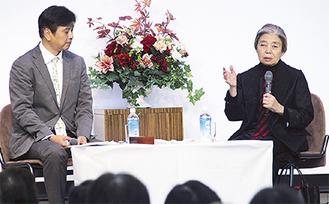 映画について語る樹木さん(右)と阿武野さん