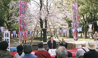 桜の前で話す桂枝太郎さん