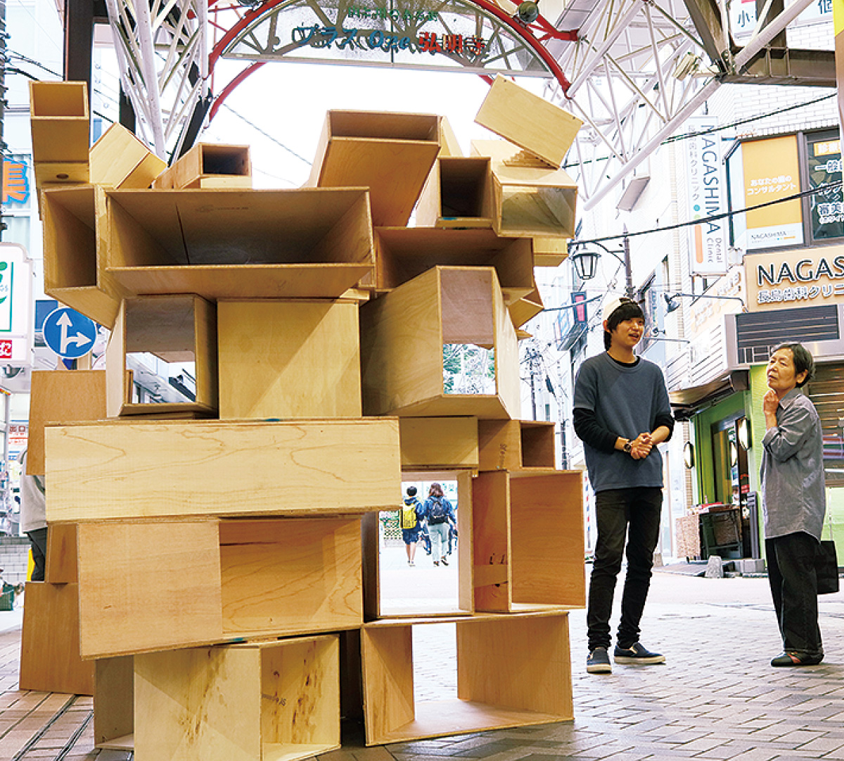 箱型の木を重ねた作品