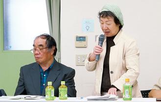 あいさつする高松会長(右)