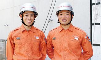 ロープ応用登はんに出場する小池さん(左)と谷口さん