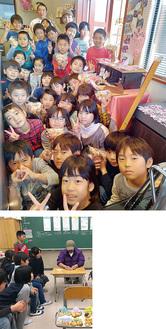 3年1組の児童(上)と前田さんへの商品提案