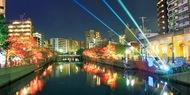 大岡川を光が包む