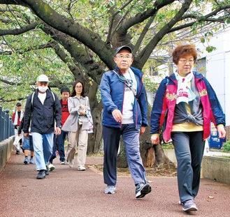 大岡川沿いを歩く参加者