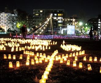 光のアート作品を公園に展示(2019年)