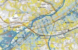 サイトで公開されている南区のハザードマップの一部。色付けされている部分が浸水想定区域
