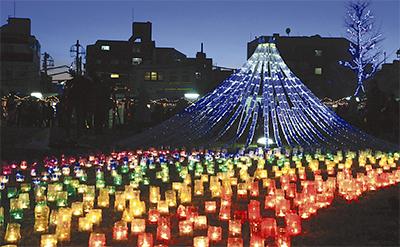 蒔田公園に「光の富士山」