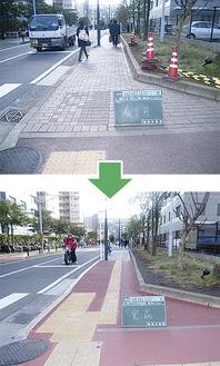 点字ブロックによる誘導範囲の拡充や、車いすによる歩道への乗り上げがスムーズになるよう改善されている