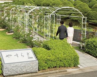 バラのアーチをくぐる合葬墓「やすらぎ」入口