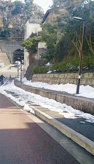 区内には未だ残雪も(21日撮影)
