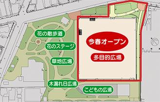 星川中央公園の完成イラスト(緑色の表記部分は2年後を目途に完成予定)