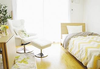 単身部屋の例。前室もあり明るく広々