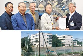 円卓会議の関係者から菅井区長に要望書が手渡された(写真上)、2013年に閉校した現在の旧くぬぎ台小学校(同右)