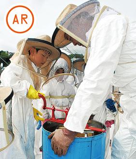 遠心分離機にかけ蜜を採取