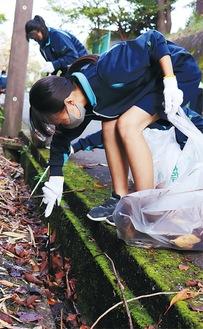 熱心に清掃する生徒ら