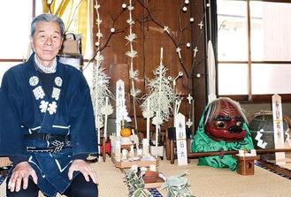 小正月で使用する道具と野木さん
