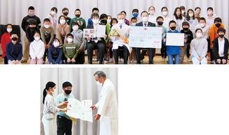 感謝の手紙を贈った5年2組の児童(写真上)・クラスの代表児童から手紙を受け取る林泰広病院長(同下)
