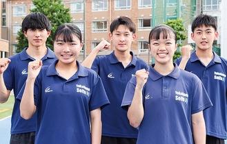 陸上部の左から山崎さん、中尾さん、池田さん、阿部さん、木村さん