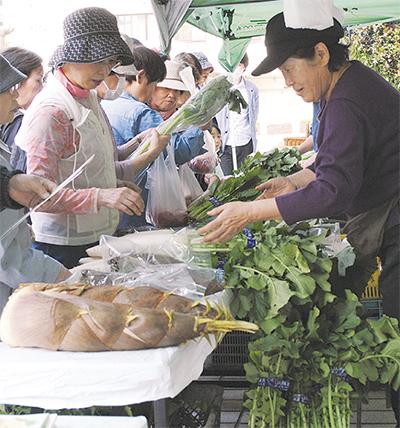 春物野菜に朝から列