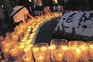 東日本大震災の追悼のためにみんなで飾った
