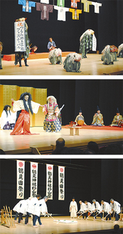 生麦のお囃子と獅子舞(上)、日枝神社の郷神楽(中)、鶴見神社の田祭り(下)