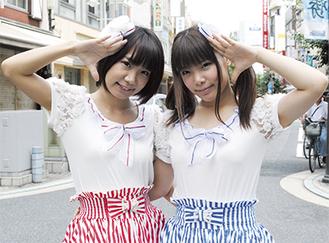 応募を呼びかけるうーちゃん(左)ときぃ(右)