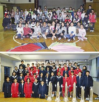 平安小学校(上)、潮田中学校のマーチングバンド